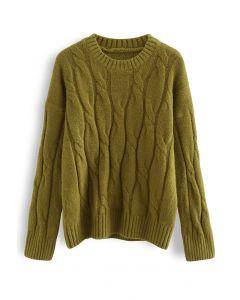Braid Fuzzy Knit Sweater in Moss Green