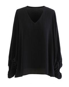 V-Neck Puff Sleeve Black Top
