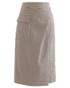 Houndstooth Print Flap Midi Skirt