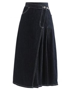 Seam Detail Flap Buttoned Denim Skirt