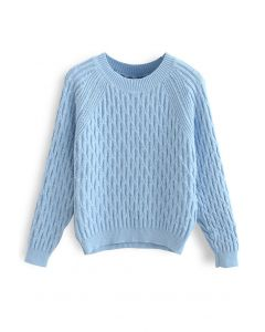 Blue Long Sleeve Rib Knit Sweater