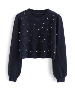 Pearls Trim Crop Knit Sweater in Navy