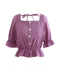 Square Neck Button Trim Crop Top in Berry