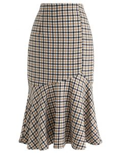 High Waisted Check Print Frill Hem Skirt