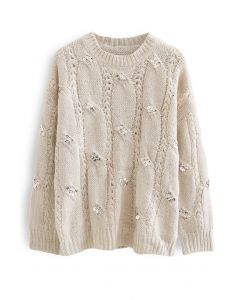 Braid Sequin Embellished Fuzzy Knit Sweater in Sand