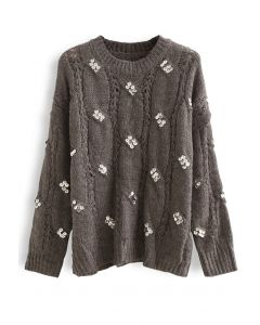 Braid Sequin Embellished Fuzzy Knit Sweater in Taupe