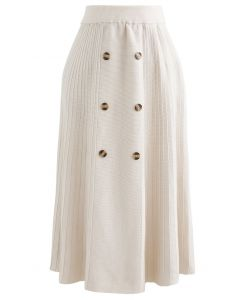 Button Front A-Line Knit Midi Skirt in Ivory