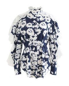 Draped Sleeves Floral Ruffled Hi-Lo Shirt