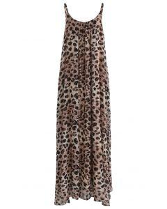 Leopard Print Chiffon Maxi Dress