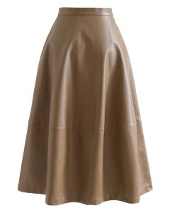 Faux Leather Side Pocket Brown Skirt