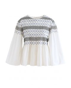 Wavy Line Shirred Dolly Top