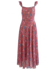 Multi Floral Print Ruffle Straps Maxi Dress