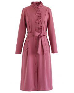Button Down Belted Ruffle Dress