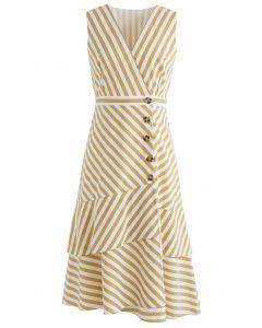 Stripe Print Buttoned Sleeveless Dress