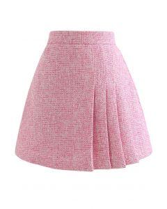 Schimmernder, plissierter Tweed-Minirock in Metallic in Pink