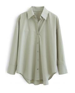 Übergroßes Hi-Lo-Hemd mit Knöpfen in Moosgrün