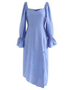 Asymmetrisches Split-Kleid mit Herzausschnitt in Blau