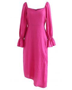 Asymmetrisches Split-Kleid mit Herzausschnitt in Hot Pink