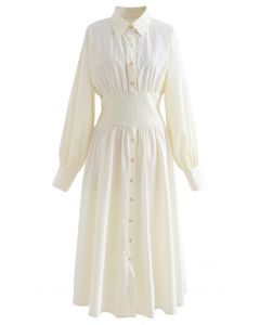 Hemdblusenkleid aus Baumwolle mit Knöpfen in Creme