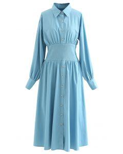 Hemdblusenkleid aus Baumwolle mit Knöpfen in Blau