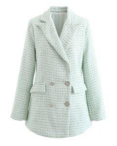 Zweireihiger Tweed-Blazer mit grünen Taschen