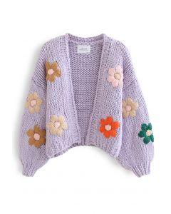 Stitch Flowers – Handgestrickter Grobstrick-Cardigan in Lila