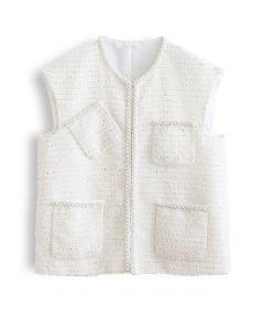 Pearly Edge Pocket Tweed Weste in Weiß