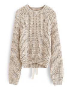 Gerippter Pullover mit offenem Rücken zum Selbstbinden