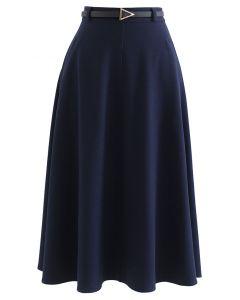 A-Linien Midirock mit schrägen Seitentaschen und Gürtel in Navyblau