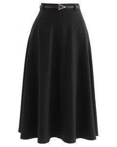 A-Linien Midirock mit schrägen Seitentaschen und Gürtel in Schwarz