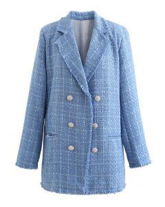 Ausgefranster Tweed-Mantel mit Kristallknöpfen
