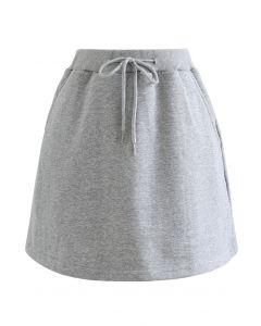 Minirock aus Baumwolle mit Kordelzug in Grau
