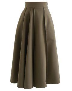 A-Linien-Midirock mit hoher Taille und Nahtdetail in Khaki