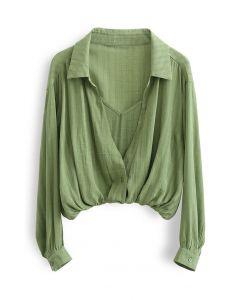 Gefälschtes, zweiteiliges, strukturiertes, kariertes Hemd in Grün