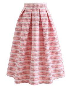 Geprägter Faltenrock mit Hahnentrittmuster und Pailletten in Blush Pink