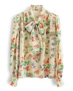 Mellow Blumendruck selbstbindendes Bowknot Chiffonhemd