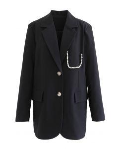 Pearly Pocket Pad Shoulder Blazer in Schwarz