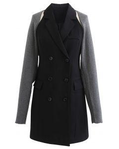 Zweireihiges Blazerkleid mit Pulloverärmeln in Grau