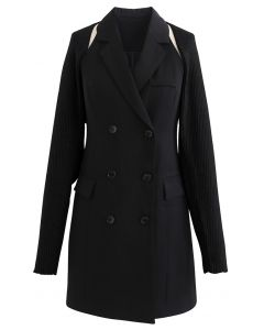 Zweireihiges Blazerkleid mit Pulloverärmeln in Schwarz
