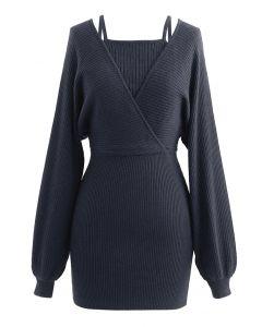 Gefälschtes zweiteiliges Wickelkleid mit kalter Schulter in Rauch