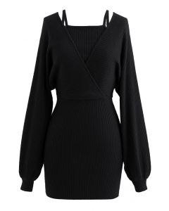 Fake – Zweiteiliges Wickelkleid mit kalter Schulter in Schwarz