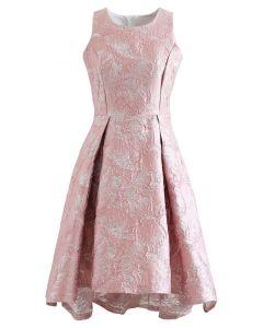 Magnolia Blossom Shimmer Jacquard Wasserfallkleid in Rosa