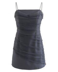 Cami-Minikleid aus Netzstoff mit Rüschen vorne in Grau