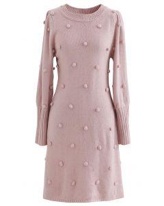 Pulloverkleid mit Puffärmeln und Pom-Pom in Rosa