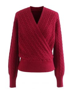 Kurzer Pullover mit Zopfmuster in Wickeloptik in Rot