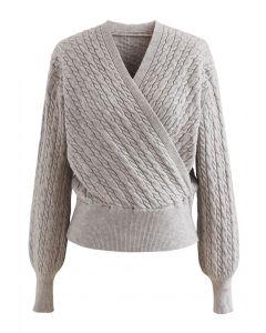 Pullover mit Zopfmuster und Wickelfront aus Leinen