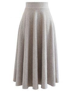 Fuzzy Soft Knit A-Linie Midirock aus Leinen