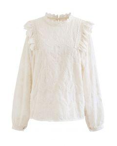 Embroidery Bubble Sleeve Ruffle Chiffon Top in Cream
