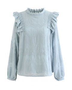 Embroidery Bubble Sleeve Ruffle Chiffon Top in Blue