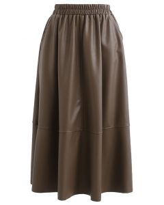 Faux Leather Side Pocket Midi Skirt in Brown
